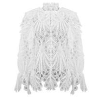 [Livivio] Vintage Hollow Out Lace Ruffled Shirts Femmina Stand Neck Flare Manica Lunga Abbigliamento Irregolare Abbigliamento donna Abbigliamento moda nuovo