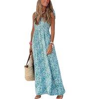 Kadınlar Plaj Elbiseleri Tatil Strappy Mini Bayanlar Yaz Parti Çiçek Güneş Elbise Bohemian Stil Kolsuz Günlük