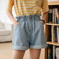 AIYANGA Women's Denim Shorts Large Size Summer Xl High Waist Elastic Waist Harem Ruffle Shorts Jeans For Women X0320