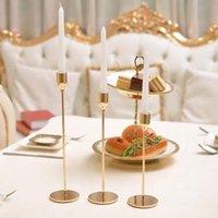 Romántico Nordic Metal Candlestick Gold Vela Tenedores de la boda Decoración de la boda Bar Party Decoración de la casa Candlestick Cena Cena DHL