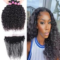 Brazilian Human Hair Bundles Wefts With Frontal 13*4 Extensions Water wave Peruvian for Women All Ages Natural Black 4pcs with 13x4