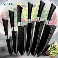 Couteau Chef Couteaux Couteaux de cuisine Set 5Cr15 Acier inoxydable Non Stick Blade Blade Slicer Utilitaire Santoku 6 pièces Ensemble