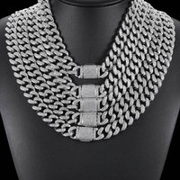 Full Iced Out CZ Curb Cuban Link Chain Necklace Mens Gold Sliver Color Hip Hop Jewelry Copper Material For Gifts Chains