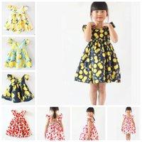 Летнее девушка платье фруктовый лимонный узор девочка платье детей сарафаны дети муха рукава платья девушки цветочные пляжные платья kka6978