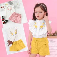 Embroidery Kids Clothes Girls Sets Summer Toddler Baby Ruffle T-shirt Tops+lacing Solid Shorts Set Vetement Fille Clothing