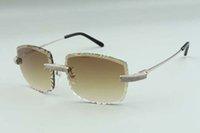 2021 المصممين الراقية النظارات الشمسية 3524023، عدسة قطع الماس الدقيقة المعبدة الأسلاك المعدنية العصي نظارات، الحجم: 58-18-135mm