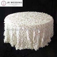 132 '' round avorio colore 3d ruffled taffettà wafer forma tabella tovaglia per uso da sposa 1pcs