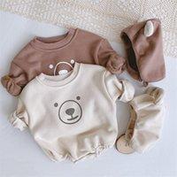 2021 Dernier printemps Coréen Style Baby Fille Body Body Cute Ours Pullshit avec bandeau Jumpsuit Vêtements enfants 2567 Y2