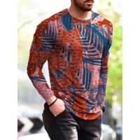 Mixed Mens 3D Print T-shirt Visual Impact Party Top Streetwear Round Neck High Quality Long Sleeves Graphic Optical Illusion Plus Size Print Daily Tops