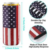 Drinkware Handle 12oz Slim Beer Can Sleeves Neoprene Cooler Covers Fit For 330ml Energy Cans Holder Case Bags BWE7564