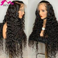 Meya 30 34 34 40 pollici Brasiliano Wave Wave Brasiliano Riccio 13x4 Parrucche anteriori del pizzo Parrucche dei capelli umani 180% Parrucca frontale lunga profonda per le donne nere