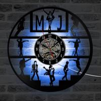 Horloge murale de Vinyle LED Danc-conception moderne danse Michael Jackson Vinyl Horloge avec 7 couleurs LED Change Wall Montre mural