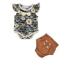 Bebek Giyim Setleri Kız Kıyafetler Bebek Giysileri Çocuk Takım Elbise Yaz Pamuk Çiçek Romper Tulum Şort 0-2T B5275