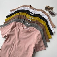 Casual Solid Color O Neck T-shirt Tops Summer 2021 Korean Simple And Versatile Slim Short-sleeved For Womens Top Tee Women's