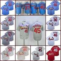 Aposentado 45 Bob Gibson Baseball Jersey 30 Orlando Cepeda 37 Keith Hernandez 46 Paul Goldschmidt Vintage Retro Cooperstown Malha Costura