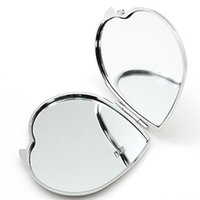 DIY Makeup Mirrors Iron 2 Face Sublimation Blank Plated Aluminum Sheet Girl Gift Cosmetic Compact Mirror Portable Decoration MMA204