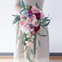 Wedding Flowers Waterfall Pink Natural Bridal Bouquets Artificial Bouquet De Mariage Rose
