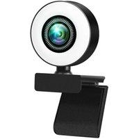 Girando 4k HD Webcam com microfone, contato LED Beautify Ring Light, Autofocus Web Câmera para PC Laptop Camcorders