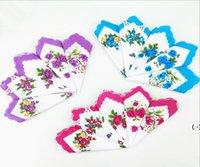 Цветочные платфорки Цвета Полумесяц Напечатанный платок хлопок Цветочные Цветочный Цветок Вышитый платок Красочные Дамы Карманный полотенце OWC6849