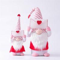 Newvalentines Day Gnome 봉투 사랑 얼굴없는 놈들 발렌타인 데이 선물 인형 창 소품 장식 인형 장식품 EWB5649