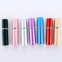 5 mlglass Liner Sprey Şişesi Anodize Alüminyum Kabuk Kozmetik Parfüm Alt Şişeler Boş Düz Kafa Mat