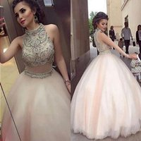 Light Pink Ball Gown Quinceanera Dresses High Neck Crystal Beaded Tulle Floor Length Two Piece Prom Dresses Arabic Dubai Formal Evening Krok