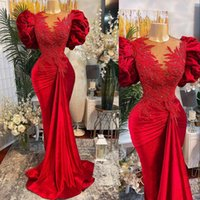 2021 Luxury Sexy Arabic Red Evening Dresses Wear Velvet Jewel Neck Illusion Short Sleeves Lace Appliques Crystal Beads Mermaid Plus Size Formal Party Prom Gowns