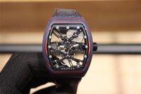 Цветные волокна оболочки полый дизайн мужские наручные часы маховик кадр указатель, импортное механическое движение 44 х 53,70 мм резиновый ремень
