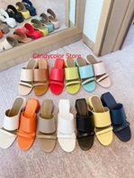 Kleid Schuhe Original Lederband Offene Zehen Süßigkeiten Farbe Mädchen Sommer Strand Sandalen Marke Chunky Heels Frau Sliden Hausschuhe Zapatillas Mujer