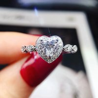 Cubic Zircon Diamond Ring band finger Heart shaple Women rings Engagement wedding Fashion jewelry will and sandy