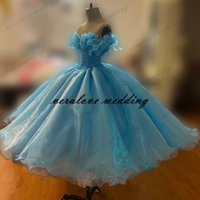 Blue Organza Short Prom Dress Off the Shoulder Princessa Quinceanera Dress Pageant Party Gowns Cheap Custom