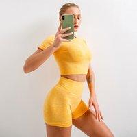Lulu Legging نمط أوروبا وأمريكا عبر الحدود سلس اليوغا الملابس النسائية تمتد قصيرة الأكمام الرياضة مجموعة قصيرة الأكمام السراويل اللياقة البدنية