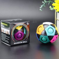 Rainbow Magic Ball Fidget Cubes Toys Puzzle Balls Stress Relief Creative Football for Kids Adult Brain Teasers Games Learning Educational Toy Gift Children