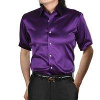 Gömlek Anpoetchy Marka Erkekler Faux Ipek Parlak Kumaş 14 Renk Kısa Kollu Gömlek Kore Moda Giyim Artı Boyutu