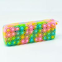 Fidget Toys Silicone Pencil Case Storage Bag Push Poping Bubble Makeup Cosmetic Bags Stress Relief Pen Purse