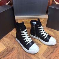 2021 Designers Sneakers Obliques Botas de Rick Homens Sapato Técnico Técnico Genuíno de Couro Flores Plataforma Outdoor Casual Sapatos Vintage Zipper Boot