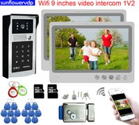 Video Door Phones Wifi 9inches Intercom Rfid Code Unlock One Call Button Intercoms For Apartments Rooms With Electronic Lock System Units Full Kit 1V2