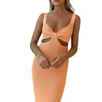 Casual Dresses Women Bodycon Bandage Dress 2021 Summer Sexy V Neck Hollow Out Maxi Long Elegant Evening Party Vestidos