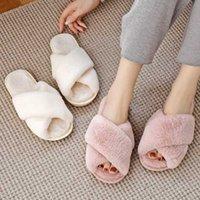 Bevergreen Winter Femmes Maison Chaussons Faux Fourrure Chaud Chaussures Chaussures Femelle Slip sur la maison Fourry Dames Pantoufles Taille 36-43 en gros 210903