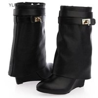 New Arrivals Black Leather Shark Lock Wedge Pointed Toe Silver Button Zip Ankle Boots For Women Motorcycle Autumn Booties