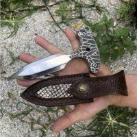 Auto-deferência mão stab espinho push faca punho acampamento faca tática edc facas presente xmas presente para homem a2269