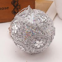 Christmas Decorations 8CM Merry Rhinestone Glitter Baubles Ball Xmas Tree Ornament Decoration For Home Hanging Pedent