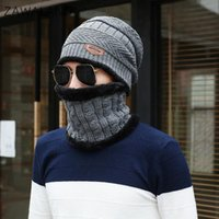 Beanies Zawaland 2pcs Set Knitting Wool Scarf Headgear Winter Warm Windproof Fleece Cap Outdoor Cycling Half Face Mask Bib Men