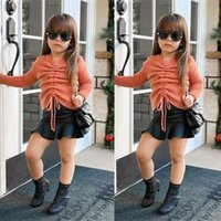 Clothing Sets 1-5Y Toddler Kids Clothes Set Baby Girls Ruffle Ribbed Lace-up T-Shirt Tops+ Leather Skirts 2PCS Outfits Sutumn Winter