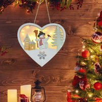 Led Grow Christmas Heart-shaped Snowman Hanging Pendant Lighted Wooden Wreath Ornaments Pendants For Xmas Tree Decoration 3pcs Free DHL HH21-705