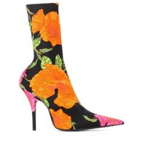 new catwalk with flowers pointed high-heeled stovepipe elastic boots wild multi-color custom leather boots
