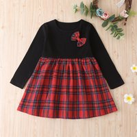 Childrens Long- sleeved Knitted Stitching Dress Girl Plaid Pr...