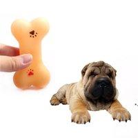 Suministro de mascotas juguete de perro de goma forma de hueso de goma sonido de chirrido juguetes de masticación interactiva para perros pequeños NHE9288