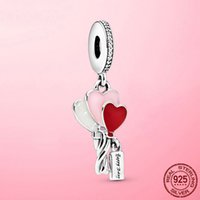 Real 925 Silver Sterling Happy Bday Balloon Balancing Charm Accounts Suitable for Original Bracelet Necklace Diy 925 Jewelry Making