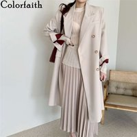 Colorfaith New 2020 Autumn Winter Women's Windbreaker Elegant Buttons Vintage Oversize Split Office Lady Long Trench Tops Jk7617
